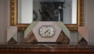 French Antique Art Deco Figurine Marble Clock with Garnitures c.1920's