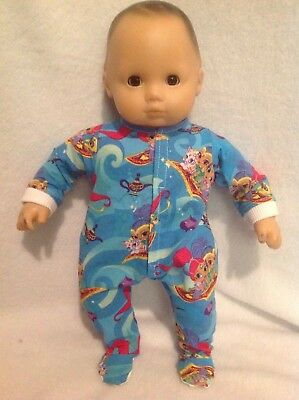 """15"""" Bitty Baby Shimmer and Shine blue pjs sleeper pajamas Girl Doll Clothes"""