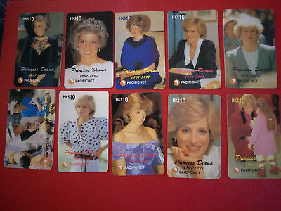 Set of 18 Pacificnet Princess Diana Phonecards all with HK $10 Denomination
