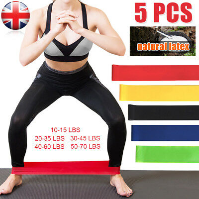5 x Resistance Stretch Loop Bands Gym Yoga Fitness Exercise Elastic Rubber Strap