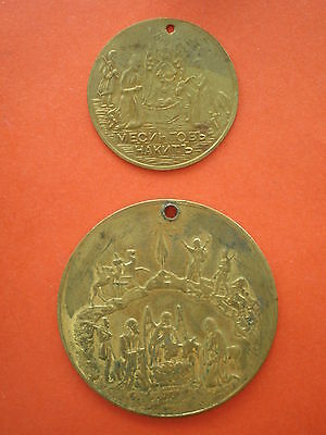 Lot of two old Orthodox Bulgarian baptismal medallions / icons of Jesus Christ