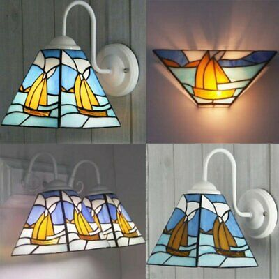 Tiffany Style Mediterranean Stained Glass Handcrafted Wall Light Sail Boat
