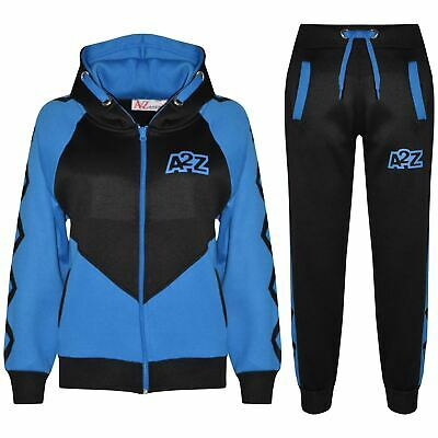 Kids Boys Girls Tracksuit Blue Contrast Panel Hooded Top Bottom Joggingsuit 5-13
