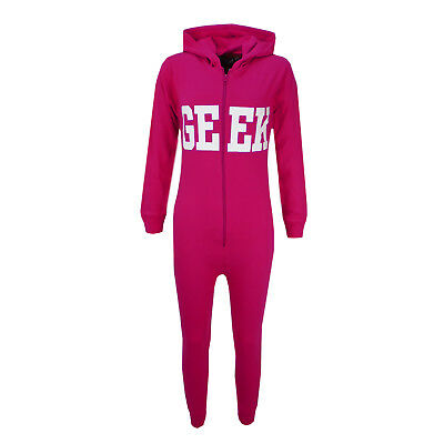 Kids Girls GEEK Print Pink A2Z Onesie One Piece All In One Summer PJ's 5-13 Year