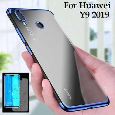 For Huawei Y9 2019 Luxury Plating Silicone Clear Case TPU Cover + Tempered Glass