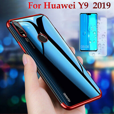 For Huawei Y9 2019 Luxury Plating Transparent Case TPU Cover + Tempered Glass