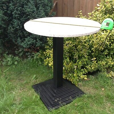 Marble Top Cast Iron Base Reclaimed Garden & Patio Art Deco Style Bistro Table