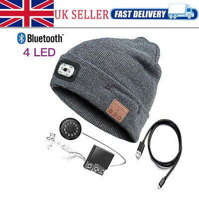 Bluetooth LED Music Beanie-Hat Headset With USB Rechargeable Speaker Washable