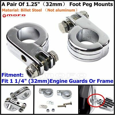 """1.25"""" Chrome Foot Peg Mounts For Harley 1 1/4"""" Engine Guard Highway Pegs Footpeg"""