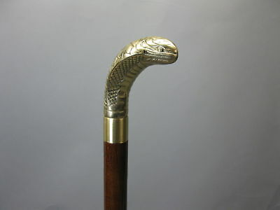 Antique  Wooden Walking Cane Snake Head Brass Handle brown Stick Style New Gift