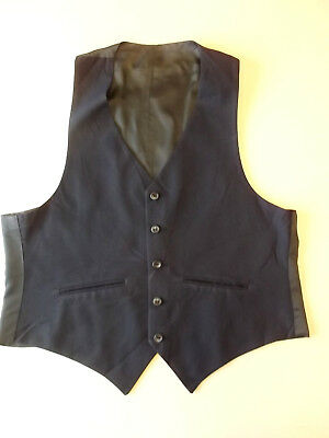 """Mens WAISTCOAT Approx Size 40"""" chest? Blue with navy back Formal Vintage BW2"""
