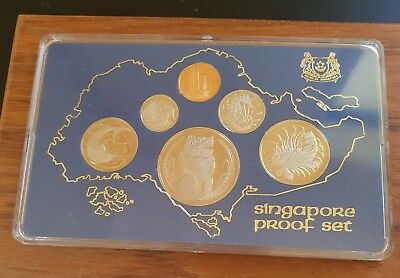 1977 Singapore Proof Set Six Lion Coins, Wood Box COA Included, 3500 sets minted