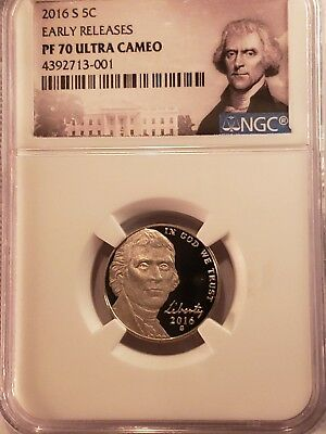Ngc 2016 S Jefferson Nickel Proof 70 Ultra Cameo Portrait Label 5C Early Release