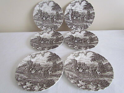 "6 X Stunning Vintage Myott Royal Mail Brown 6-5/8"" Side Plates"