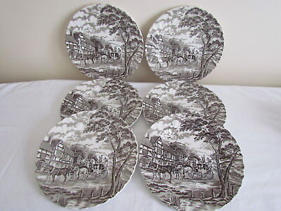 "6 X Stunning Vintage Myott Royal Mail Brown 10""  Dinner Plates"