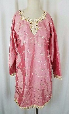 Vintage Asian India Embroidered Tunic Dress Traditional Clothing Satin S M Pink