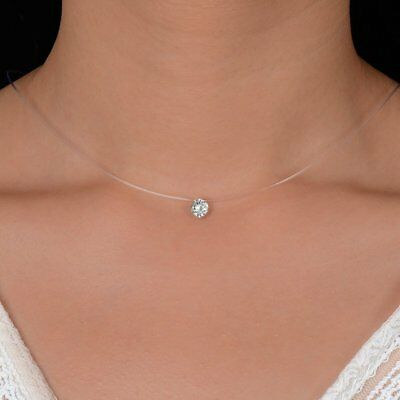 Womens Elegant Pendant Necklace Crystal Clavicle Chain Invisible Line Jewellery