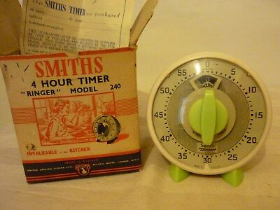 Vintage/Retro SMITHS 4 hour timer-working order-boxed lime green