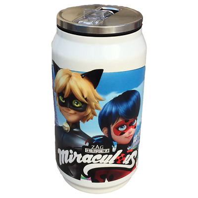 Borraccia Lattina Miraculous Ladybug Chatnoir Con Cannuccia 250 Ml. - Lb17037/2