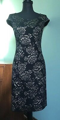 Hobbs Size 8 Black Dress With Gold Embeloshed Floral Print. Christmas / Party