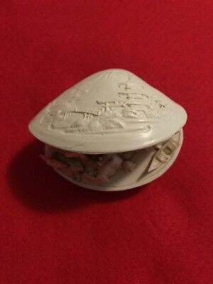 Asian Carved Shell + Diarama Picture Inside 8 Cm  Wide