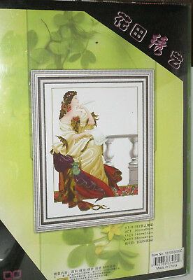 Huatian Thinking Woman Counted Cross Stitch 23x17 Picture Kit
