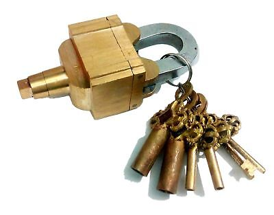 Antique style Master Lock TRICKY PUZZLE Padlock with keys sturdy & Hard to open