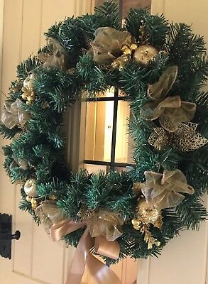 Luxury Quality Christmas Door Wreath Poinsettia Apple Baubles 45cm Gold Large