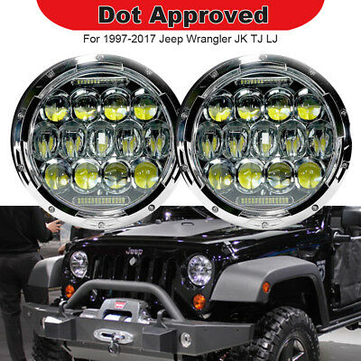 "2pc 7"" inch Round LED Headlight Fits 1997-2017 Jeep Wrangler TJ LJ JK JKU"