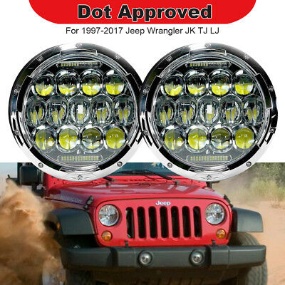 "2pc 7"" Inch Round 75W LED Headlight Hi/Lo Fits JEEP Wrangler JK CJ TJ LJ 97-17"