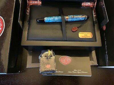 Aurora Limited Edition 888 Urano W/rose Gold Trim Fountain Pen Factory Stub Nib