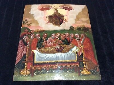 Antique 19th C.Russian/Greek Orthodox Icon Rare Painting   Dormition