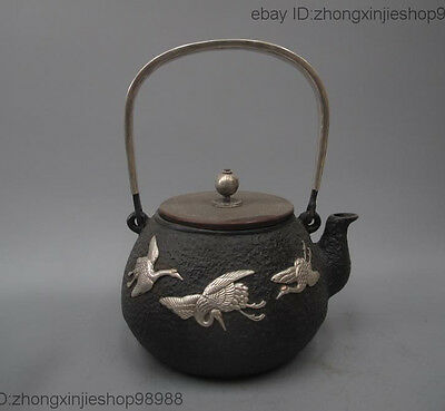 Archaic Japan Iron Silver Red-crowned Crane Flagon Kettle Wine Tea Pot