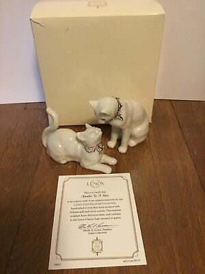 LENOX AWAKE TO A KISS 2 Cat Sculpture set NEW in BOX with COA Kitten
