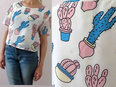 Cactus Succulent Pink White Box Crop Top Size 12 Buy 3+ Items for FREE Post