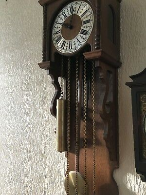 wall clock weight driven vintage wall clock working