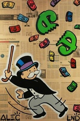 Alec Monopoly Graffiti Handcraft Oil Painting on Canvas, Monops beating $ pinata
