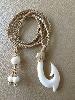 """Hawaiian Fishhook Necklace Carved From Buffalo Bone 1 1/2""""T With Adjustable cord"""