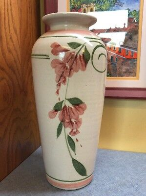 """Vintage Art Deco Pottery VASE Cream with Pink Flowers 12"""" Tall"""