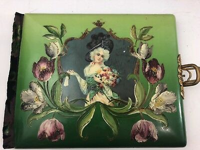 Vtg Antique Victorian Celluloid Photo Album Ornate Brass Cherub  Floral