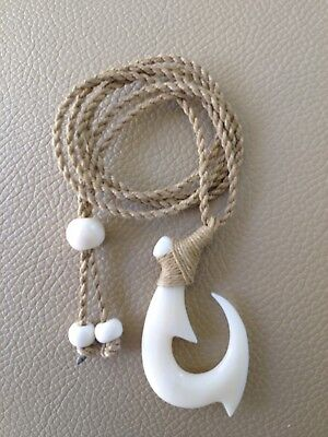 """Hawaiian Fishhook Necklace Carved From Buffalo Bone 2""""Tall.With Adjustable Cord"""