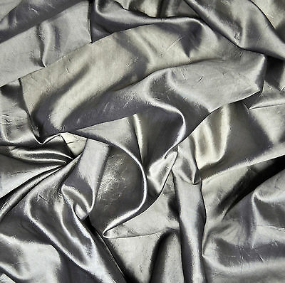 Silver color wrinkled taffeta, pure silk fabric. Price for 1m. Made in Italy