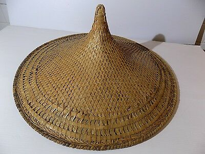 vtg COOLIE HAT Asian sun rice patty bamboo straw conical Chinese Japan woven