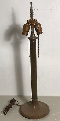 Antique double socket pull chain tassel finial stained leaded glass table lamp