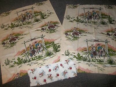 Genuine Vintage American Cowboy Western Cotton sateen Fabric + rodeo flannel