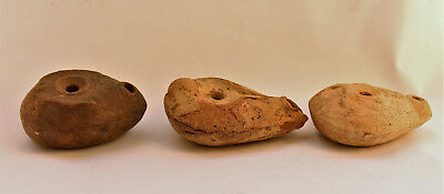 Lot of 3 Rare Ancient Roman Egyptv Frog oil lamps.  1st century BC - 1century CE