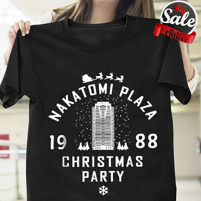 8a17c11a Die Hard Nakatomi Plaza Christmas Party 1988 T Shirt Black Cotton S-6XL