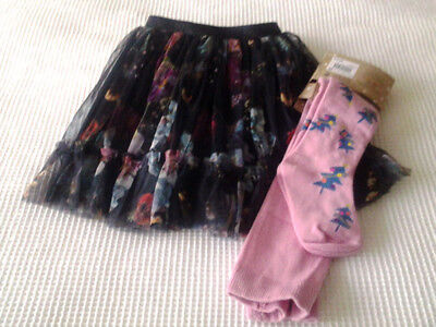 Next Baby Girls Navy Floral Mesh Skirt & Christmas Tights Age 18-24 Months BNWT