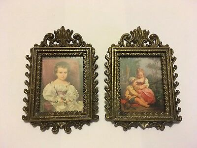 2 VTG. Ornate Small Brass Picture Frame Made in Italy Sweet Children Pic's