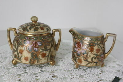 Antique Nippon Handpainted Cream Pitcher and Lidded Sugar Bowl - Heavy Moriage